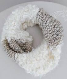 Gola de Lã Feminina Tricô Cachecol Inverno Branco