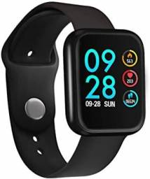 Relógio smartwacht P70 com duas pulseiras (aços/silicone) pretas.