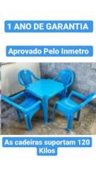 Imperdível#Jogo de Mesa Azul com 4 Cadeiras Forte e Resistentes