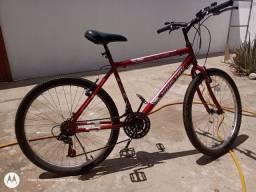 Bicicleta aro 26 Houston com pedal de ferro, luz traseira, pneus forrados, velocímetro