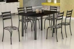 Jogo de mesa tubular com 6 cadeiras, novas!!