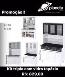 Kit triplo com vidro topázio // Antiguidades