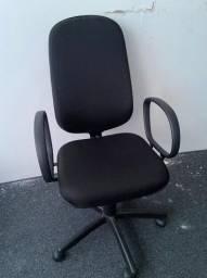 Lote com 10 Cadeiras de Escritório Tecido Preta (Encosto Alto)