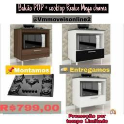 Balcão Pop e Cooktop Realce Mega chama Entrega Goiânia e Aparecida