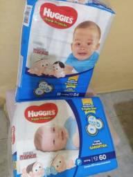 2 pacotes de fraldas Huggies