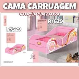 Cama princesa carruagem rosa