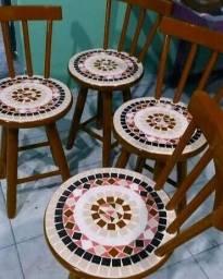 Banquinho banco mosaico