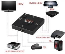 Switcher Hdmi Chaveador Hub 5x1 Pc Xbox Ps3 Controle Remoto sem custo de motoboy