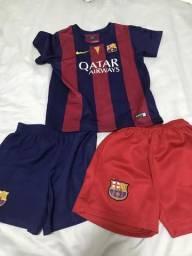 Conjunto camisa + bermuda Barcelona infantil d58e589a3595d