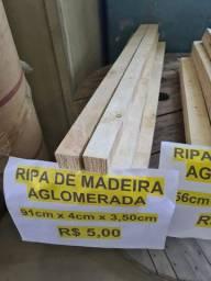 Ripas de Madeira Aglomerada / Cantoneira de Madeira Pinus