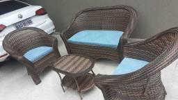 Conjunto de sofá São Cristóvão em fibra sintética