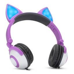 Headphone Gatinho Cosplay com Fio [Branco/Roxo]