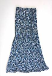 Saia longa azul estampa floral