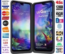 "LG G8X 128GB, 6GB Ram, Dual Tela 6.4"", 2Câm 13MP, Selfie 32MP, Novíss, Caixa, NF, Gar, Trc"