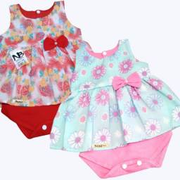 Vestido Infantil de Bebê Tipo Body com Forro em Algodão Novo