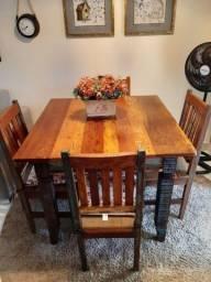 Mesa jantar nova ! Madeira de demolição verdadeira ! Preço de desapego só hoje.