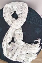 Cachecol Feminino de Lã Tricô Grande Liso com franja