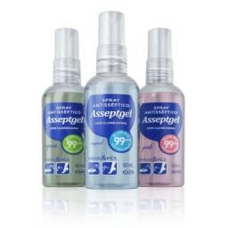 Spray Antisséptico Asseptgel 60ml Kit c/ 3Un