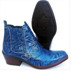 bota country botina couro legitimo solado costurado