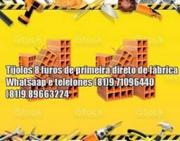 Tijolos por carradas tijolos 8 furos com entregas de fábrica
