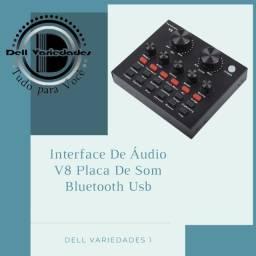 Interface de Áudio V8 Placa de som Bluetooth Usb - Produto novo. Dell Variedades.