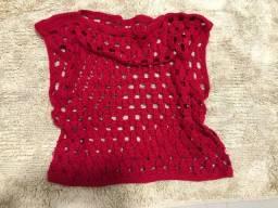 cropped de crochê vermelho veste p/m 20,00