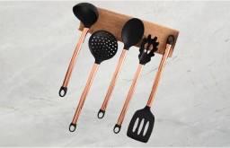 Kit Utensílios de Cozinha Rosê Gold com 5 Peças