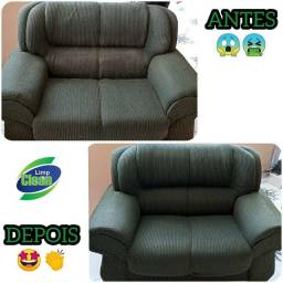 Limpeza e higienização de cortina e sofá