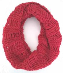 Cachecol Gola Feminina Tricô em Lã Moda Inverno Vermelha