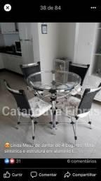 Mesa de Jantar De Fibra Sintética e Alumínio