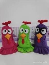 Kit galinhas cantoras em feltro