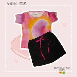 Conjunto (novos) feminino Tie-dye tamanho 2 a 10 anos