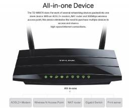 Modem/ Roteador para telefone de linha TP-Link TD-W8970 ADSL2 +  Gigabit com porta USB