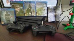 Sony Playstation 4 Pro 1tb + 1 Controle + Carregador +  5 Jogos