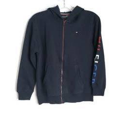 Blusa de Moletom com Capuz e Zíper Azul Marinho Infanto Juvenil Tommy Hilfiger Original