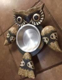 Petisqueira coruja madeira prato inox
