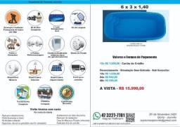 Piscina Fibra 6 x3 x 1,4(prof) + Filtro + Instalação