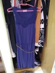 Vestido azul com renda TAM : M