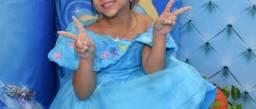 Vestido Cinderela Lindo Infantil Azul Novo