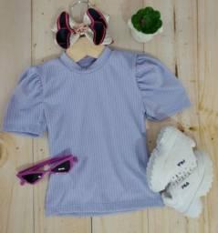 Blusa infantil canelada manguinha princesa. Disponível no tamanho 04