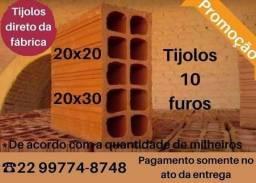 Tijolos de Campos 10 furos em promoção a partir de 870.00 20x30
