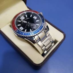 U.S. Polo Assn. Relógio analóg masc de quartzo com alça de liga, prata (modelo: USC80500)