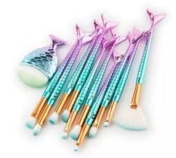 Kit 11 pincéis sereia em cabelo sintético com Bag.