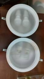 Luminária de embutir redonda com tampa de vidro