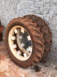 Jogo pneus trator estreito e roda 12.4.38