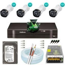 Kit de 4 Câmeras Intelbras Completo e instalado