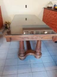 Mesa colonial cerejeira com tampo de vidro