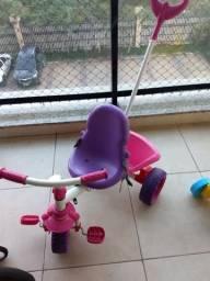 Velocípede carrinho bandeirantes rosa e roxo