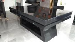 Mesa de sinuca com tampo refeição , ping pong e par de bancos direto de fabrica