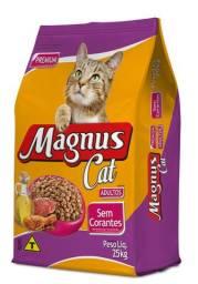 Magnus Cat Premium Gatos Adultos Sabor Carne Sem Corantes - 25 kg